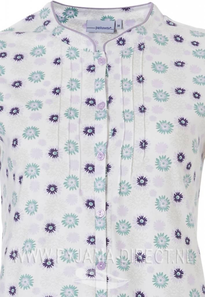 Pastunette 'uniquely floral' snow-white & blue, short sleeve 100% cotton full buttoned capri pyjama set