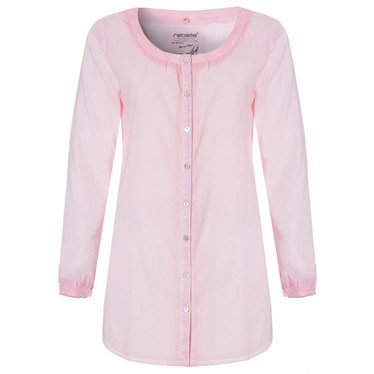 Rebelle 'trendy 'Sunny Days', blushpink, full button, 100% cotton, long sleeve beach shirt