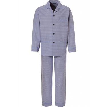 Robson 'a block of diamonds', 100% woven cotton, full buttoned, men's grey-blue blue pyjama with revere collar, pockets and matching bottoms