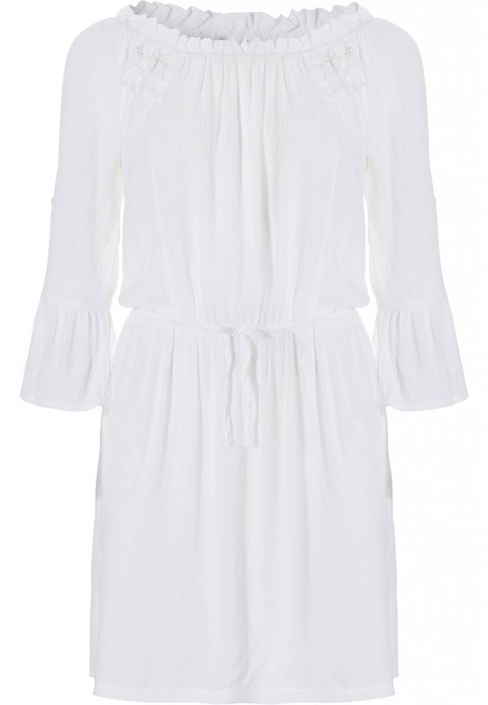 Pastunette Beach 'must have' off-white beach holiday 'off the shoulder' cover-up style dress with tie waist and pretty flared sleeves