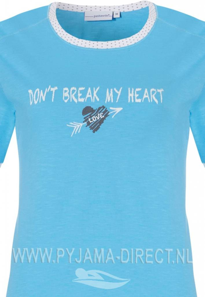 Pastunette 'don't break my heart', fresh aqua blue short sleeve 100% cotton pyjama top with picture and long off-white 'dotty' pants