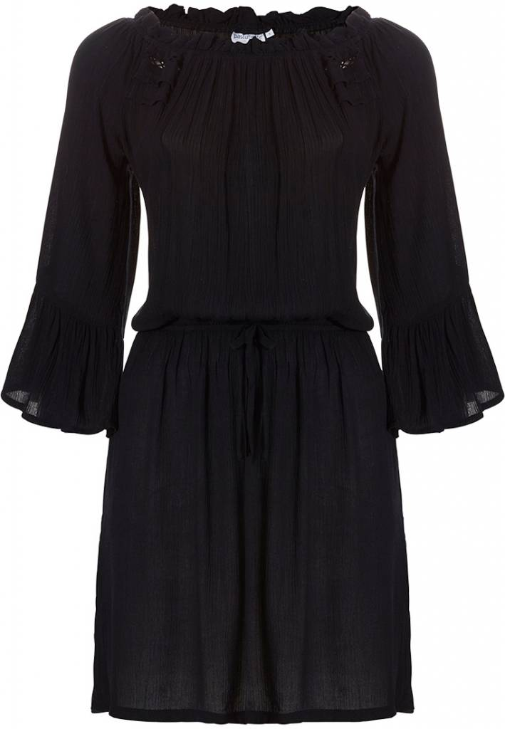 Pastunette Beach 'must have' black beach holiday 'off the shoulder' cover-up style dress with tie waist and pretty flared sleeves