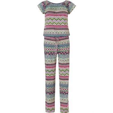 Pastunette Beach 'mosaic design', a bright holiday mixture of pinks & greens in this summer beach jumpsuit with short sleeves and matching pants