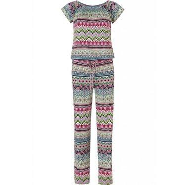 Pastunette Beach 'mosaic'-design, een frisse mix van roze & groene kleuren in deze zomerse jumpsuit met korte mouwen en bijpassende lange broek met taillekoord