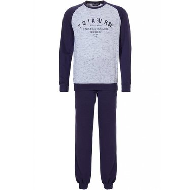 Pastunette for Men 'Endless Summer For the Bave Only', lightsteelblue & navy 'sporty look' cotton polyester mix melee pyjama set with long sleeves and cuffs and cool text on the front