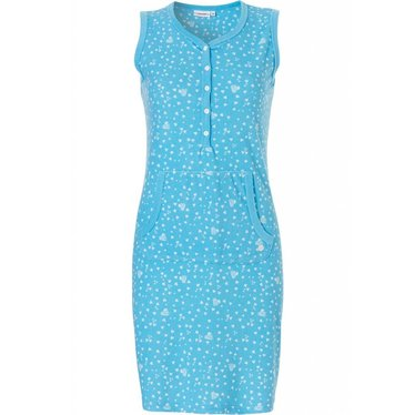 Pastunette 'all about love', aqua blue sleeveless cotton-terry summer house dress with kangeroo front pocket