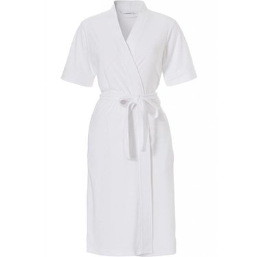 Pastunette barely-white cotton-terry, short sleeve wrap-over Summer kimono style robe with belt
