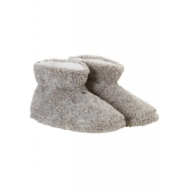 Rebelle soft & warm Autumn brown melee, fluffy coral fleece ankle slipper boots