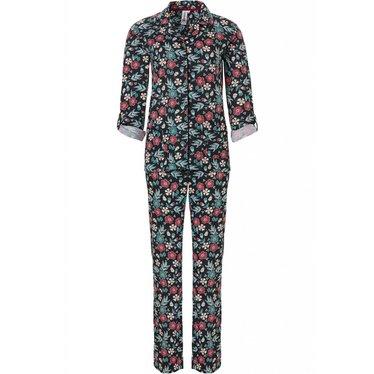 Rebelle 'pop art flower power' katoen-modal doorknoop pyjama met lange mouwen met mouwophouders