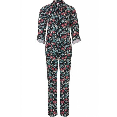 Rebelle 'pop art flower power', long sleeve cotton-modal full button pyjama set with optional turn-up sleeves