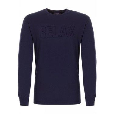 Pastunette for Men 'Relax point' Mix & Match, navy blauwe pyjama top met reli‰f print (embossed)