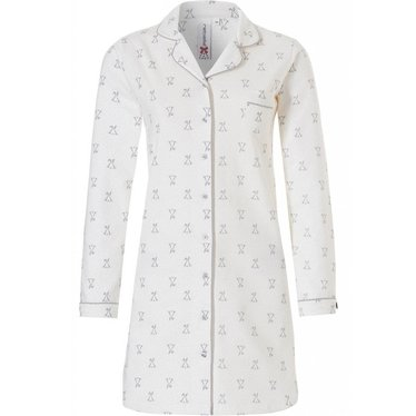 Rebelle 'cute little bunny', off-white & wheat long sleeve warm french cotton terry nightdress with full buttons