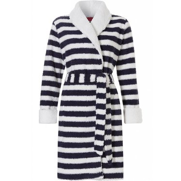 Pastunette 'sailor stripes' navy blauw & witte, zachte coral fleece overslag badjas met shawlkraag en ceintuur