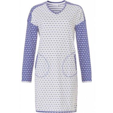 Pastunette blauw-wit dames nachthemd 'mad about dots' met lange mouwen
