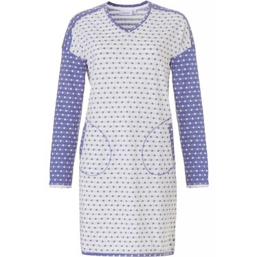 Pastunette blue & white dotty ladies long sleeve nightie 'mad about dots'