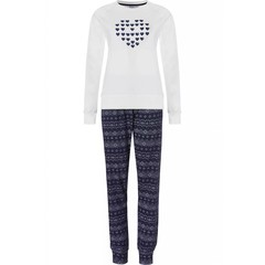 Pastunette long sleeve cotton pyjama set 'heart of hearts & blocks'