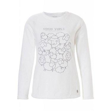 Rebelle 'off to sheep we go' ivoor-kleurige coral fleece top met geborduurde 'Good Vibes' tekst en schaapjes