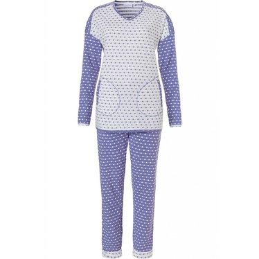 Pastunette blauwe en witte stippen pyjama met lange mouwen voor dames 'mad about dots'