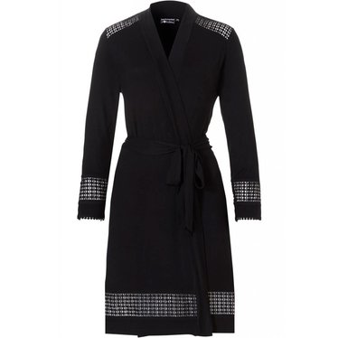 Pastunette Deluxe black bamboo wrap-over kimono with 'little blocks of diamonds' detailing (see-through pattern)