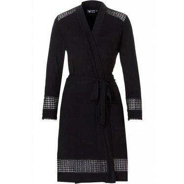 Pastunette Deluxe overslag, kimono-stijl, zwarte bamboe ochtendjas met 'kleine diamanten blokjes' details (gaatjes patroon)