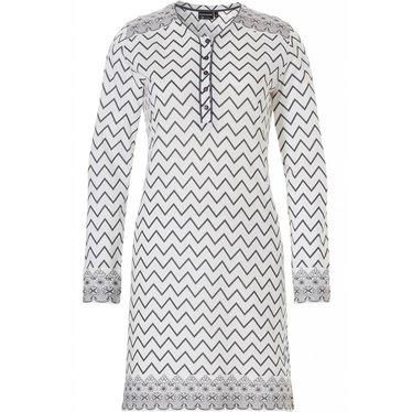 Pastunette Deluxe 'soft & pure zig zag lines', ivoorkleurig & grijs katoen-modal nachthemd met lange mouwen en knoopjes