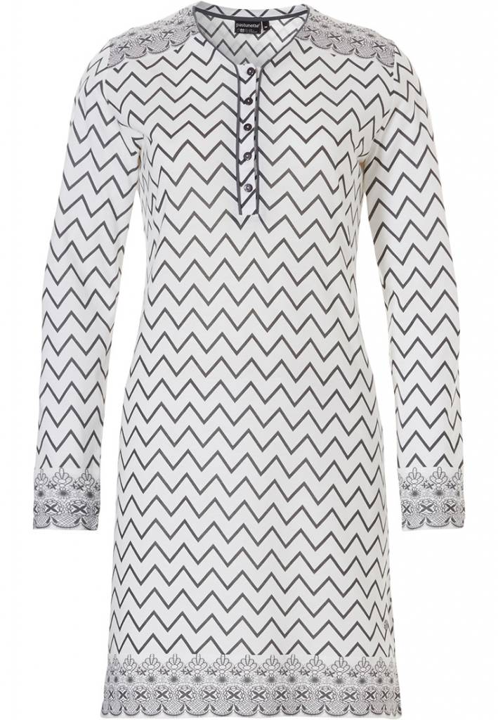 Pastunette Deluxe 'soft & pure zig zag lines', off-white & grey cotton-modal long sleeve nightdress with buttons