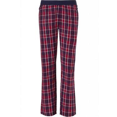 Pastunette 'heart2heart & moderne ruiten' crimson rood & navy blauwe, katoenen, lange broek