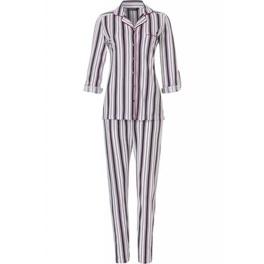 Pastunette Deluxe 'fresh bold stripes', long sleeve cotton-modal maroon-midnight blue pyjama with optional turn-up sleeves