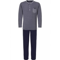 Pastunette for Men katoenen herenpyjama met lange mouw 'in the stripe'