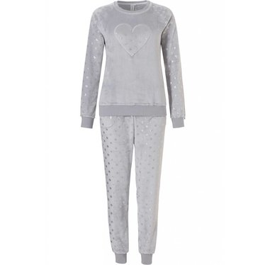 Rebelle soft coral fleece grey home suit with silver 'shiny dots loveheart'  and cuffed long pants