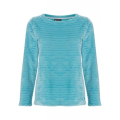 Pastunette Deluxe aqua blue fleece jumper 'soft lines'