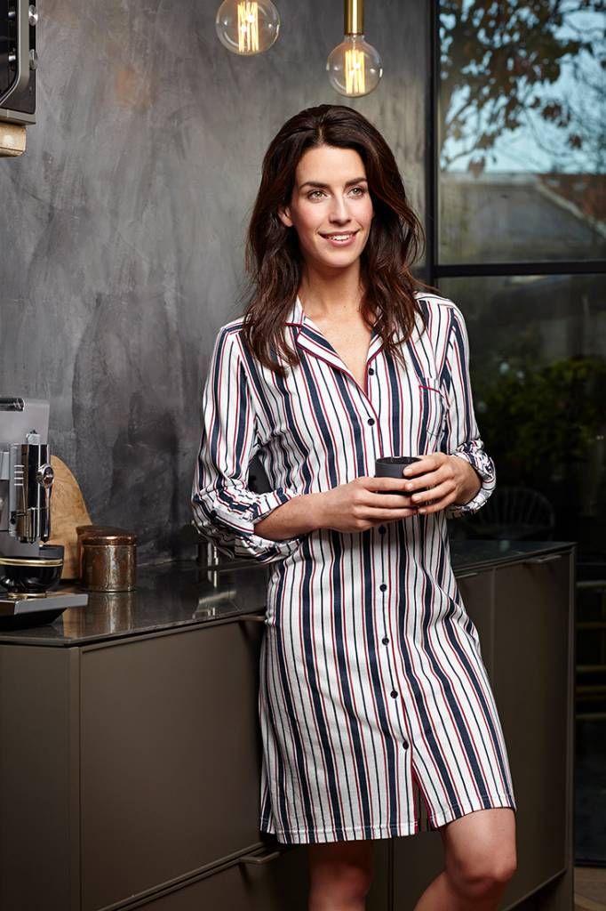 Pastunette Deluxe 'fresh bold stripes', long sleeve cotton-modal maroon-midnight blue nightshirt with optional turn-up sleeves