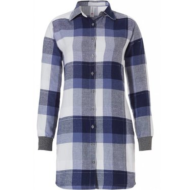 Rebelle 'trendy block of checks', blue & white, 100% cotton flannel with (silver lurex thread) long sleeve nightshirt (optional turn-up sleeves)