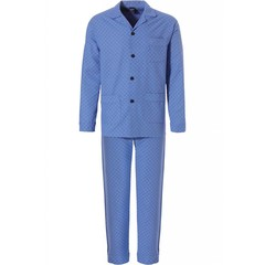 Robson full button, marine blue woven cotton men's pyjama 'soft diamond pattern'