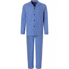Robson marine blauwe doorknoop heren pyjama van geweven katoen