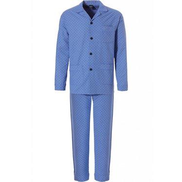 Robson full button, marine blue woven cotton men's pyjama 'soft diamond pattern'