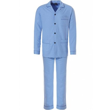 Robson full button, fresh blue woven cotton men's pyjama 'soft diamond pattern'