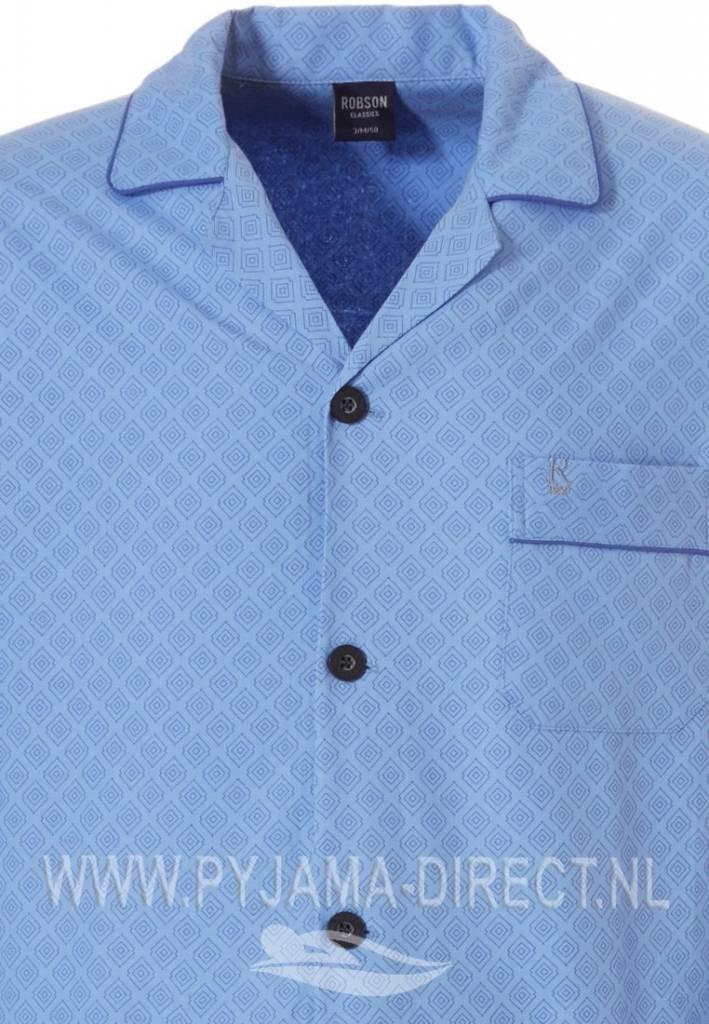 Geweven Katoen Fris Blauwe Doorknoop Heren Pyjama Pyjama Direct