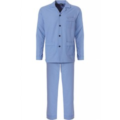 Robson full button, cadet blue, woven cotton men's pyjama 'star-in-the-box'