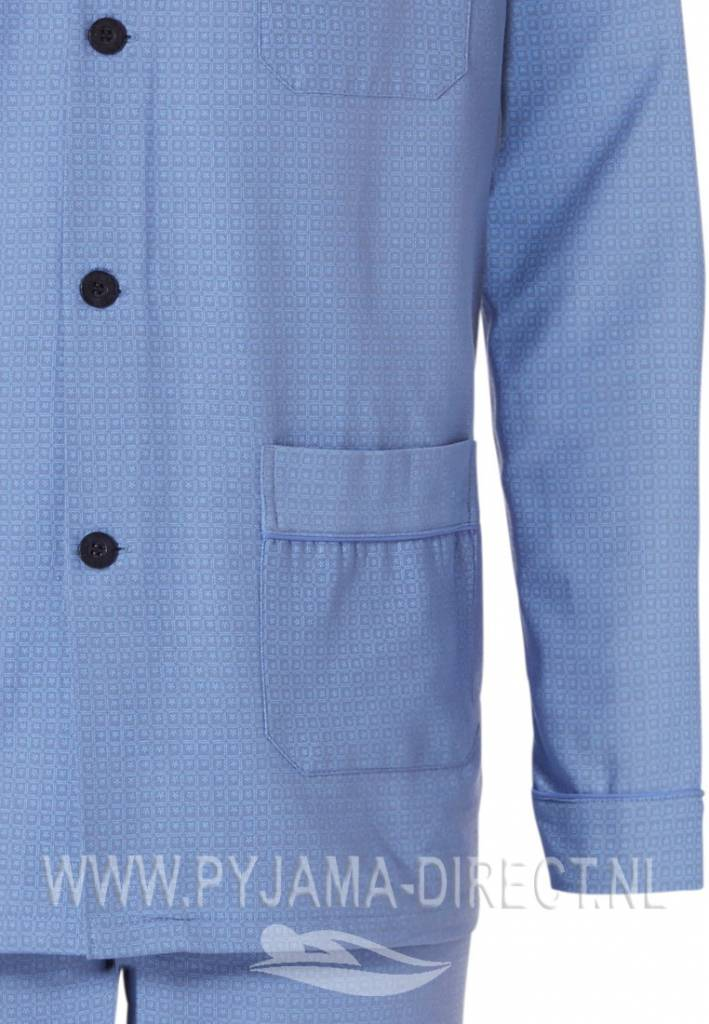 Lichtblauwe Doorknoop Heren Pyjama Van Geweven Katoen Pyjama Direct