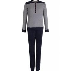 Pastunette navy blue, long sleeved terry pyjama set 'fine stripes'