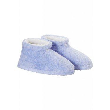 Pastunette blauwe, zacht & warme, enkelhoge fluffy sloffen van coral fleece