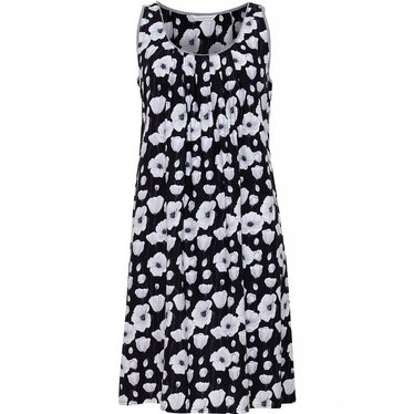 Cyberjammies zwart-wit, katoen-modal, mouwloos bloemen nachthemd met mooie plooien vanuit de halslijn