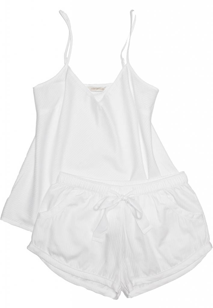 Cyberjammies Georgia white satin stripe shorts & white vest