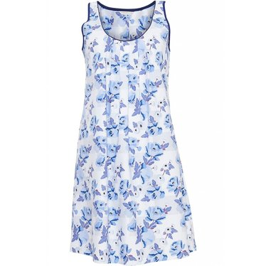 Cyberjammies blue & white cotton - modal sleeveless floral nightdress with sweet blue floral pattern