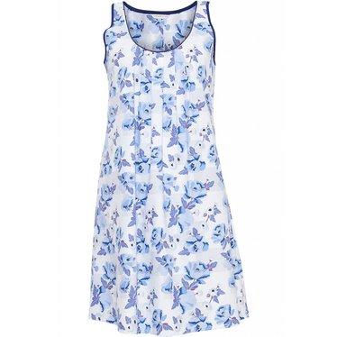 Cyberjammies Katoenen, blauw-wit modal bloemen nachthemd met leuk blauw bloemen-patroon