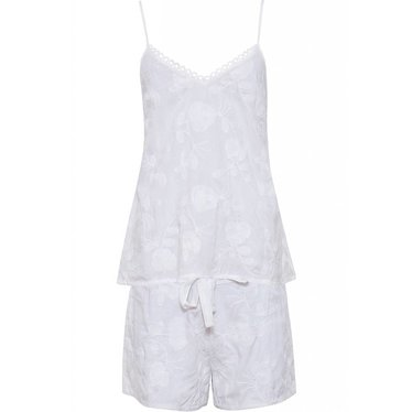 Cyberjammies 'embroidered flowers', pure white, modal woven shorty set  with adjustable straps
