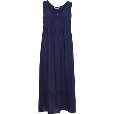 Cyberjammies navy blue modal long nightdress with pretty ladder detailing and hem