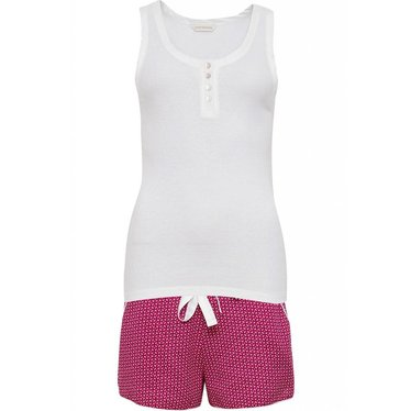 Cyberjammies Joyce pink shorty set with white ribbed vest with buttons