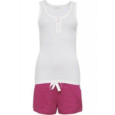 Cyberjammies 'Joyce' roze shorty set met witte top met knoopjes